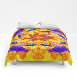 Purple & Gold Floral Design Comforters