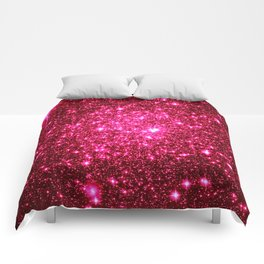 Hot Pink Glitter Galaxy Stars Comforters