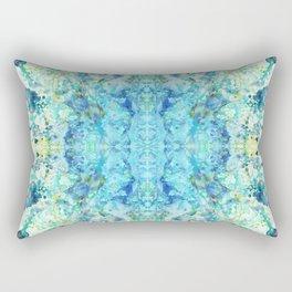 Aqua & Mint Symmetrical Watercolor Abstract Rectangular Pillow