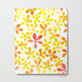 Retro Flowers - Yellow and Orange Metal Print