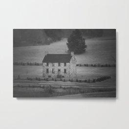 Stone House Tilt Shift Black and White Manassas National Battlefield Park Civil War Historic House Metal Print
