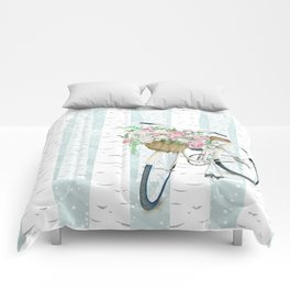 White Vintage bicycle in a Birch Forest Comforters