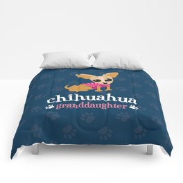 Chihuahua Granddaughter Pet Owner Dog Lover Blue Comforters