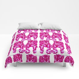 Chinese Guardian Lion Twins in Pink Peony Comforters
