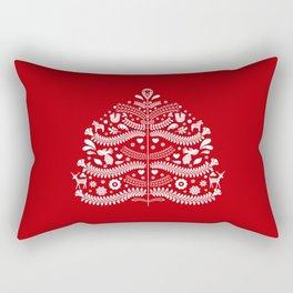Scandinavian Folk Art Christmas Tree Rectangular Pillow