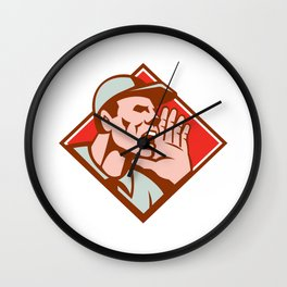 Worker Looking Up Shouting Retro Wall Clock