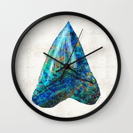 Blue Shark Tooth Art by Sharon Cummings Wall Clock
