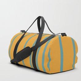 Variable Stripes Minimalist Mustard Orange and Turquoise Blue Duffle Bag