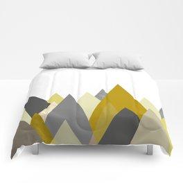 Mountains Mustard yellow Gray Neutral Geometric Comforters