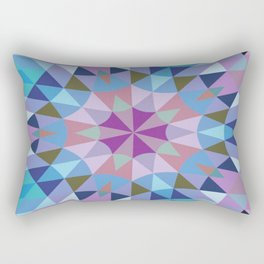 Retro Geometry Mandala Lavender Blue Rectangular Pillow