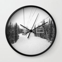 Ski Chair Lift B&W \\ Deep Snow Season Pass Dreams \\ Snowy Winter Mountains Landscape Photography Wall Clock