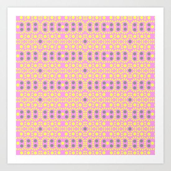 Pink and borders Art Print