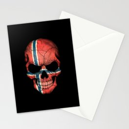 Dark Skull with Flag of Norway Stationery Cards