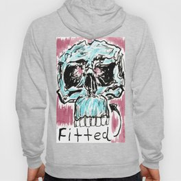 Fitted: A color ink skull on watercolor paper Hoody