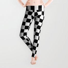 Black Checkerboard Pattern Leggings