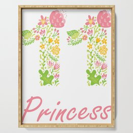 11th Birthday Princess 11 Years Old Girl Floral B-day Theme print Serving Tray