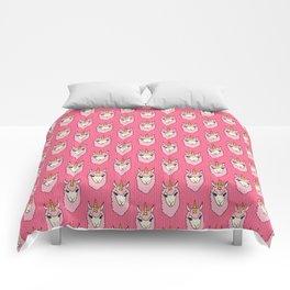 Llamacorn - doodle llama unicorn pattern in pink Comforters