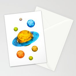 Colorful watercolor hand drawn planet. Stationery Cards