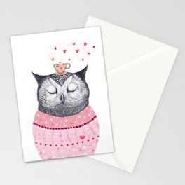 Owl lover of coffee Stationery Cards