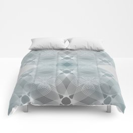 Colliding Circles in Teal and Grey Comforters