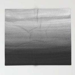 Touching Black Gray White Watercolor Abstract #1 #painting #decor #art #society6 Throw Blanket