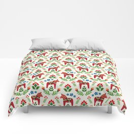 Swedish Dala Horses Red Comforters