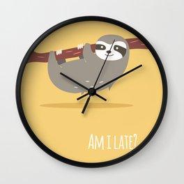 Sloth card - Am I late? Wall Clock