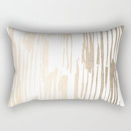 White Gold Sands Thin Bamboo Stripes Rectangular Pillow