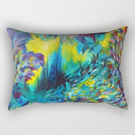 FLIGHT ON TAP - Whimsical Colorful Feathers Fountain Peacock Abstract Acrylic Painting Purple Teal Rectangular Pillow