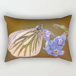 White and cream butterfly on forget-me-not flowers Rectangular Pillow
