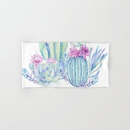 Mixed Cacti White #society6 #buyart Hand & Bath Towel