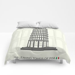 figure leaning tower of Pisa in Italy Comforters