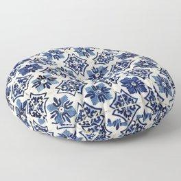 Vintage Blue Ceramic Tiles Floor Pillow