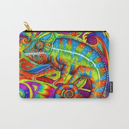 Psychedelizard Colorful Psychedelic Chameleon Rainbow Lizard Carry-All Pouch