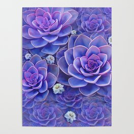 """Bouquet of pastel violet exotic succulents"" Poster"