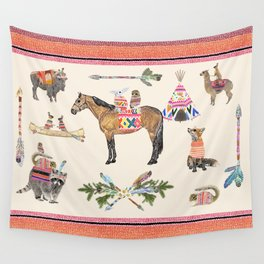 Family with horse, fox, rabbit, owl Wall Tapestry