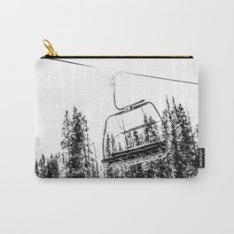 Empty Skilift // Black and White Snowboarding Dreaming of Winter Carry-All Pouch