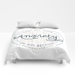 """Cast All Your Anxiety on Him"" Bible Verse Print Comforters"