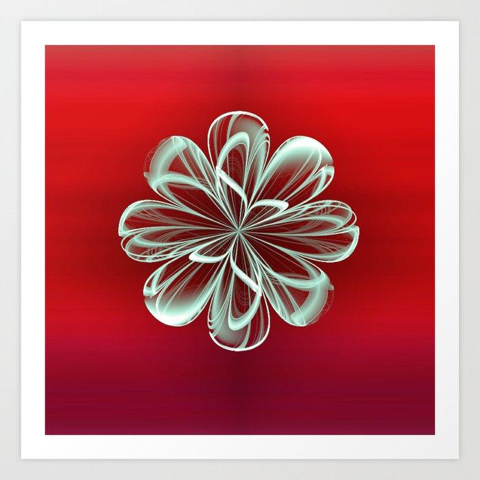 Cyan Bloom on Red Art Print