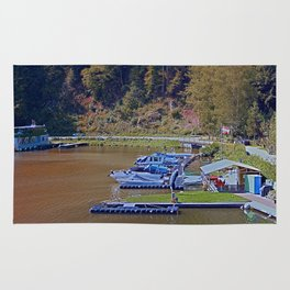 Boats in the harbour II | waterscape photography Rug