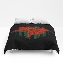 Deepest Bold Red Boho Floral Mandala Hummingbird Print Comforters