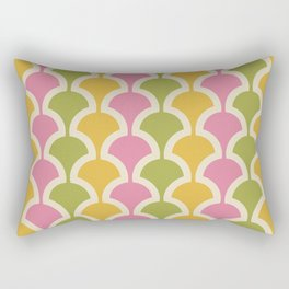 Classic Fan or Scallop Pattern 426 Pink Green and Yellow Rectangular Pillow