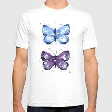 Butterflies Watercolor Blue and Purple Butterfly Mens Fitted Tee White SMALL