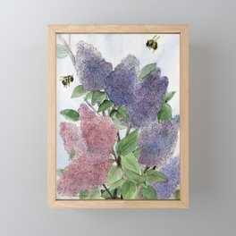 Lilacs and Bees Watercolor Painting Framed Mini Art Print