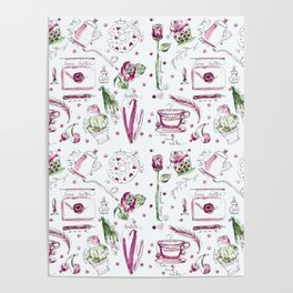 Love Note watercolor pattern Poster