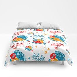 Seamless pattern lino style Comforters