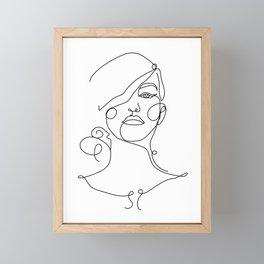 Printable Girl Portrait Line Illustration, Female Sketch Framed Mini Art Print