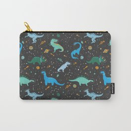 Dinosaurs in Space in Blue Carry-All Pouch