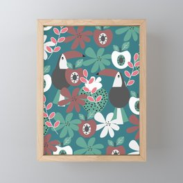 Toucans with apples and strawberries Framed Mini Art Print