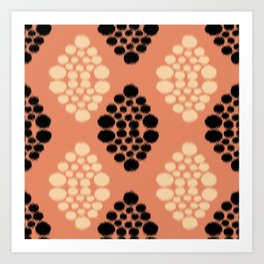 ikat diamonds in black and orange  Art Print